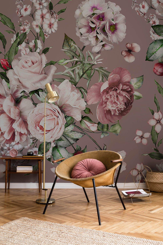 pink flower bush wallpaper mural bedroom