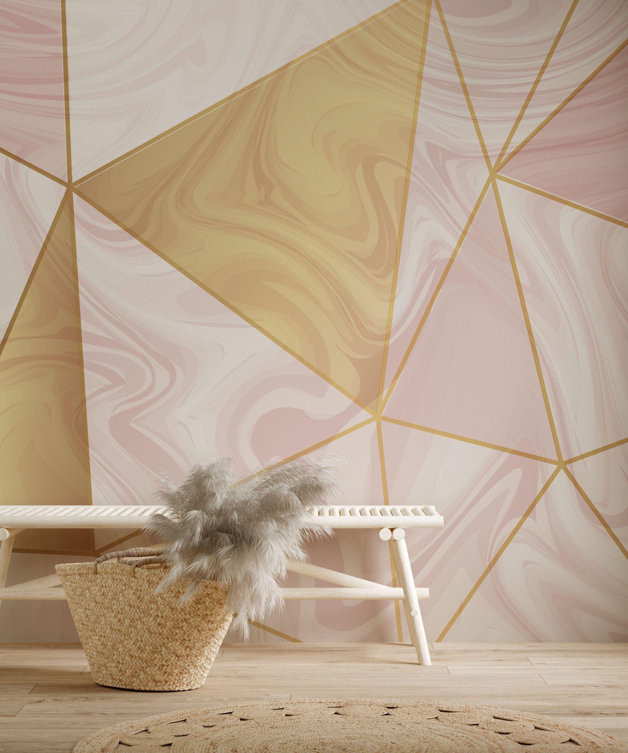 pink geometry marble wallpaper mural room