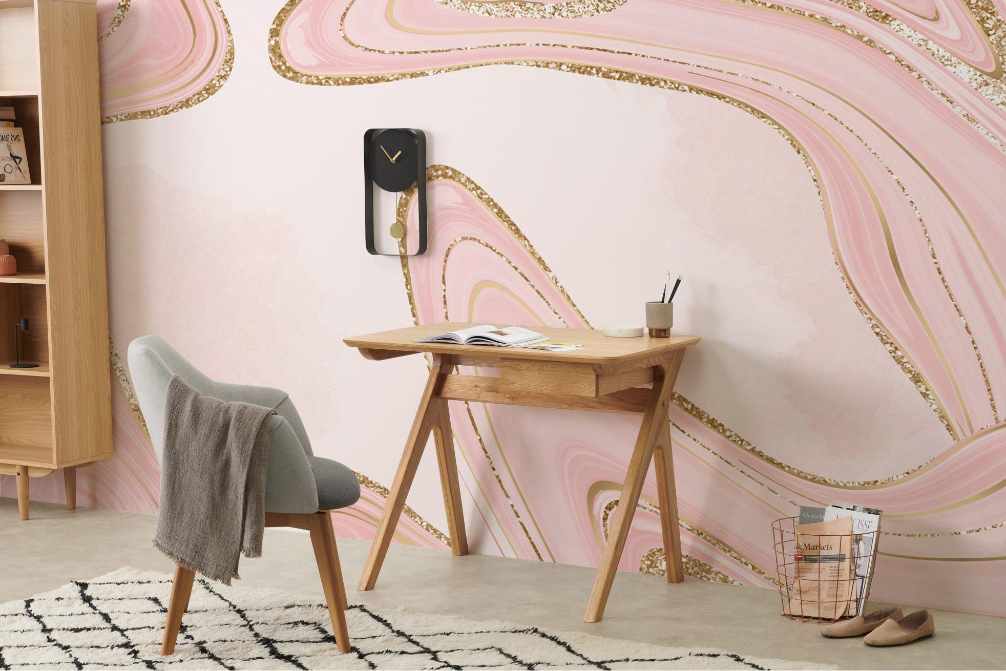 pink gold marble wallpaper mural living room