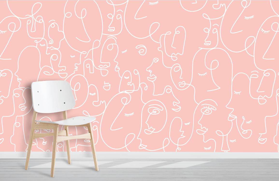 pink human portrait wallpaper mural