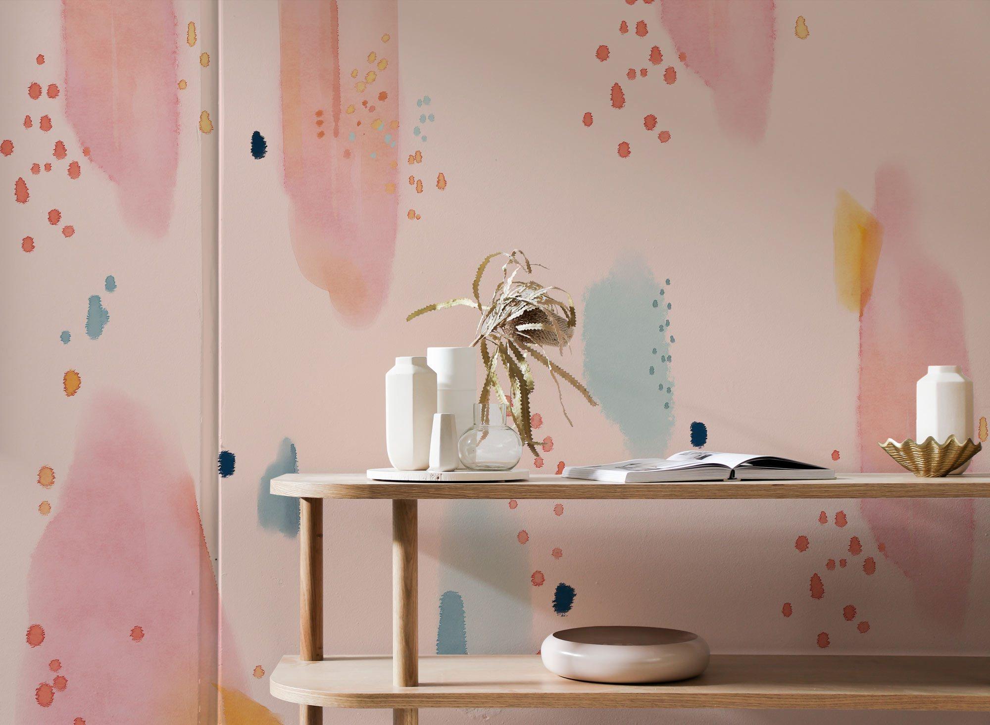 pink pattern art deco wallpaper mural living room