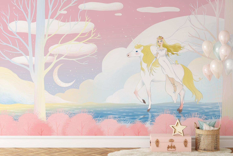 unicorn animal nursery room wallpaper mural plain