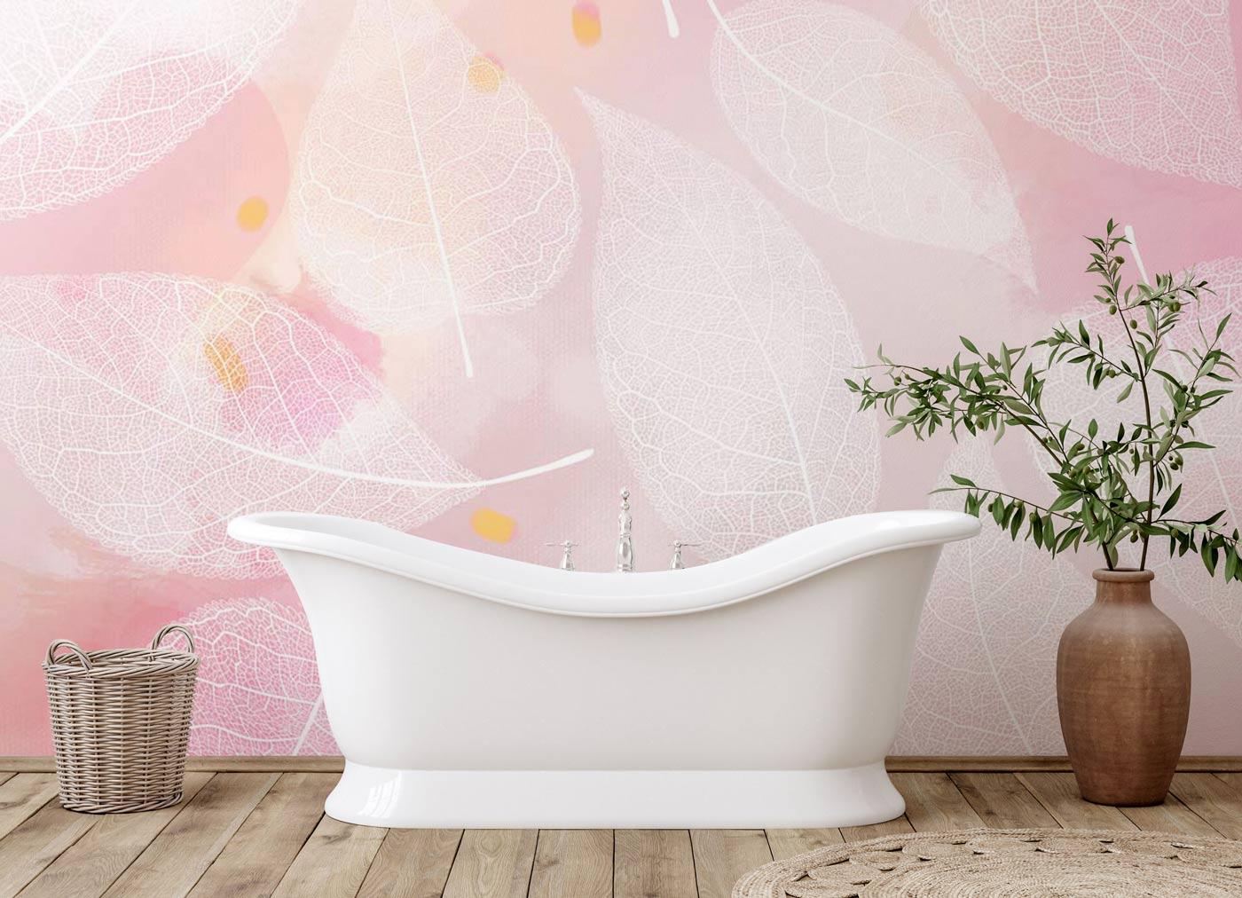 white leaves wallpaper mural bathroom